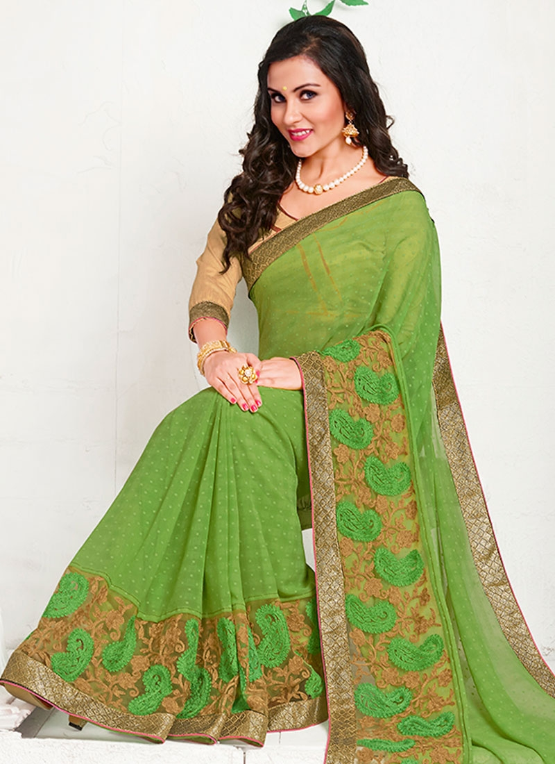 Competent Embroidery Work Party Wear Saree