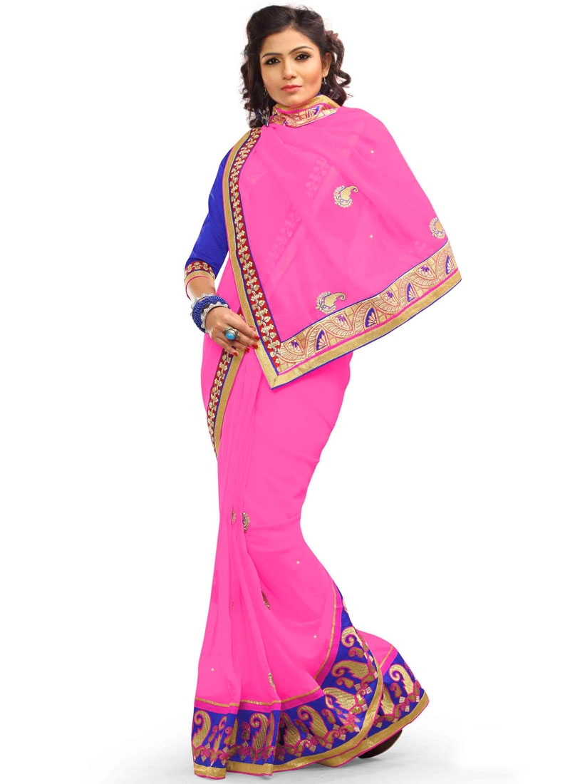 Competent Faux Georgette Resham Work Party Wear Saree