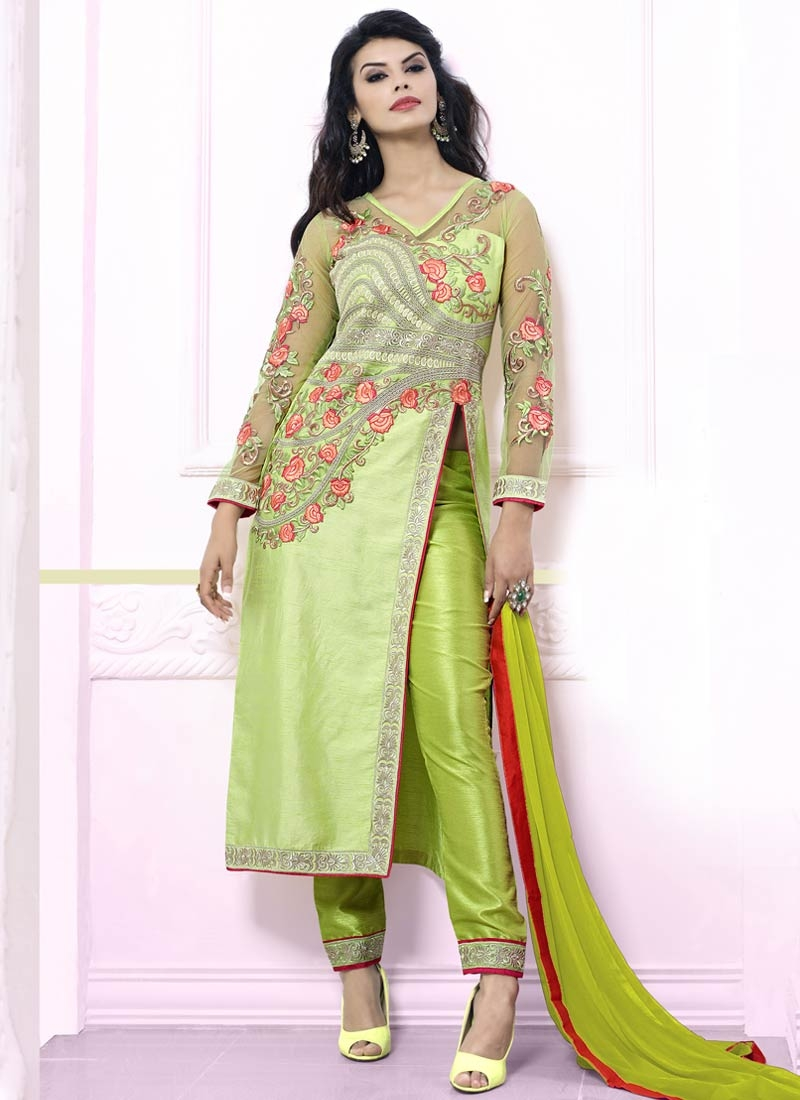 Competent Floral Work Pant Style Party Wear Salwar Suit