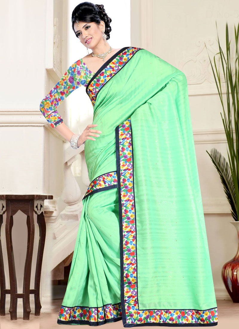 Competent Mint Green Color Stone Work Casual Saree