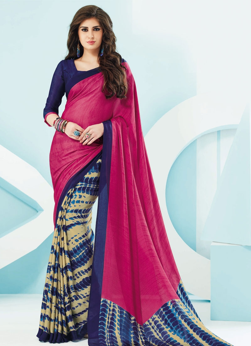 Competent Navy Blue And Fuchsia Color Casual Saree