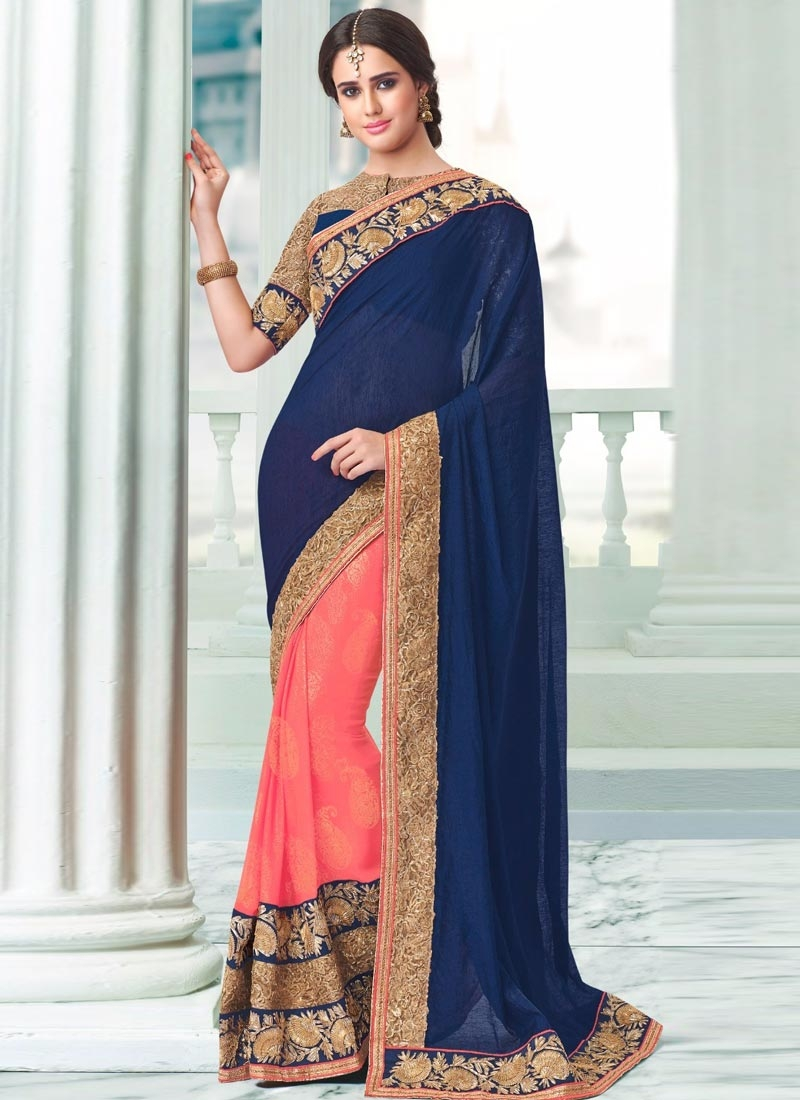 Competent Navy Blue And Salmon Color Half N Half Party Wear Saree