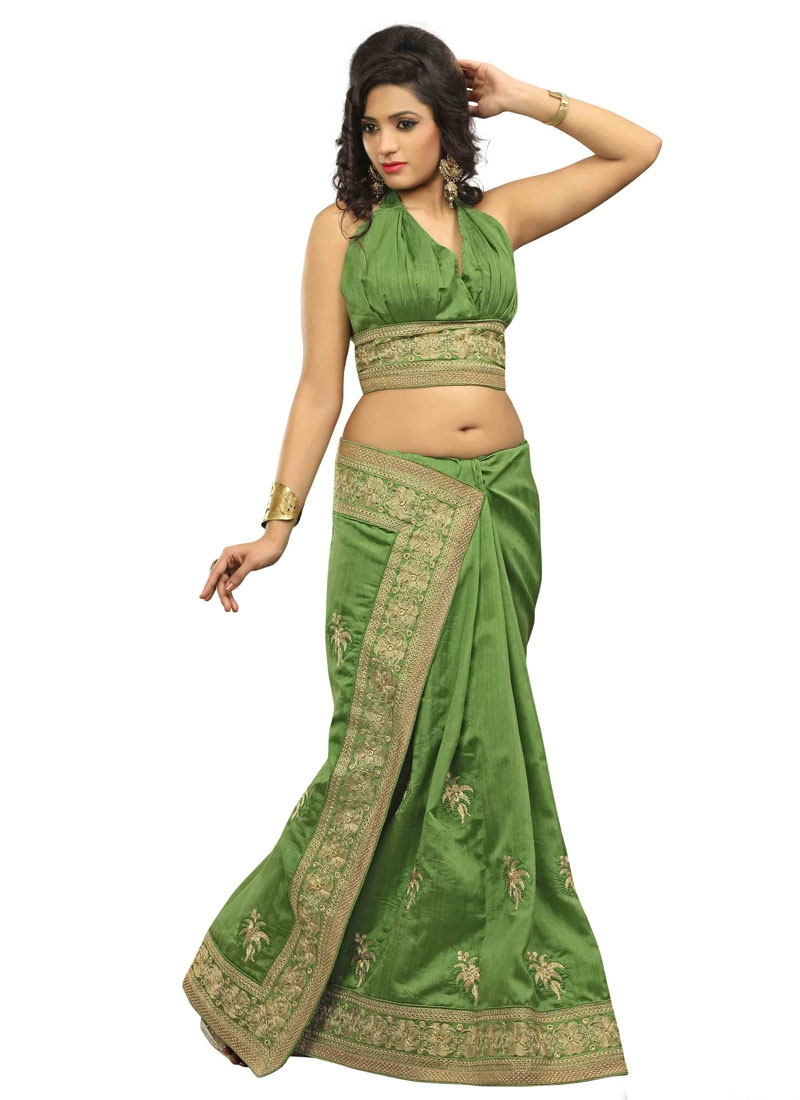 Competent Olive Color Lace Work Party Wear Saree