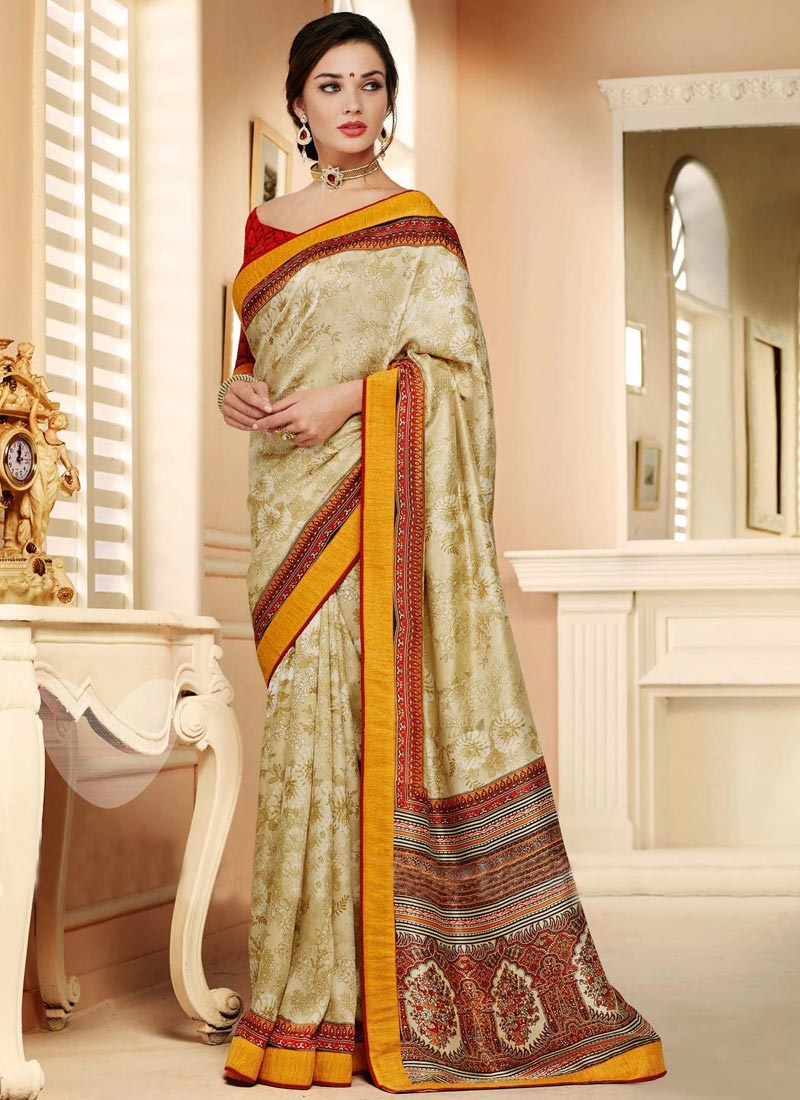 Competent Pasmina Cream Color Casual Saree
