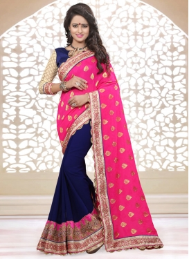 Competent Patch Border Work Half N Half Designer Saree