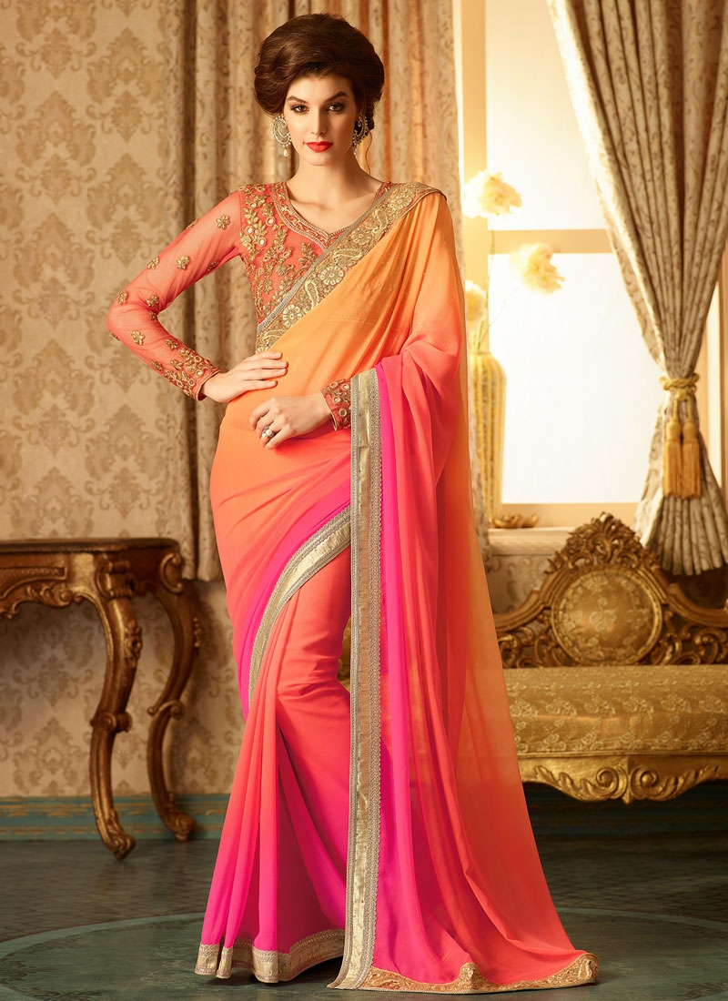 Competent Peach And Rose Pink Color Designer Saree