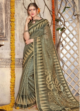Competent Print Work Brasso Georgette Beige and Grey Contemporary Style Saree