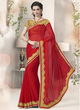 Competent Red Color Resham Work Party Wear Saree