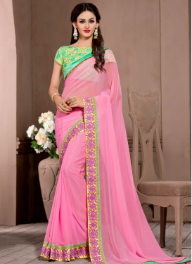 Competent Resham And Lace Work Party Wear Saree