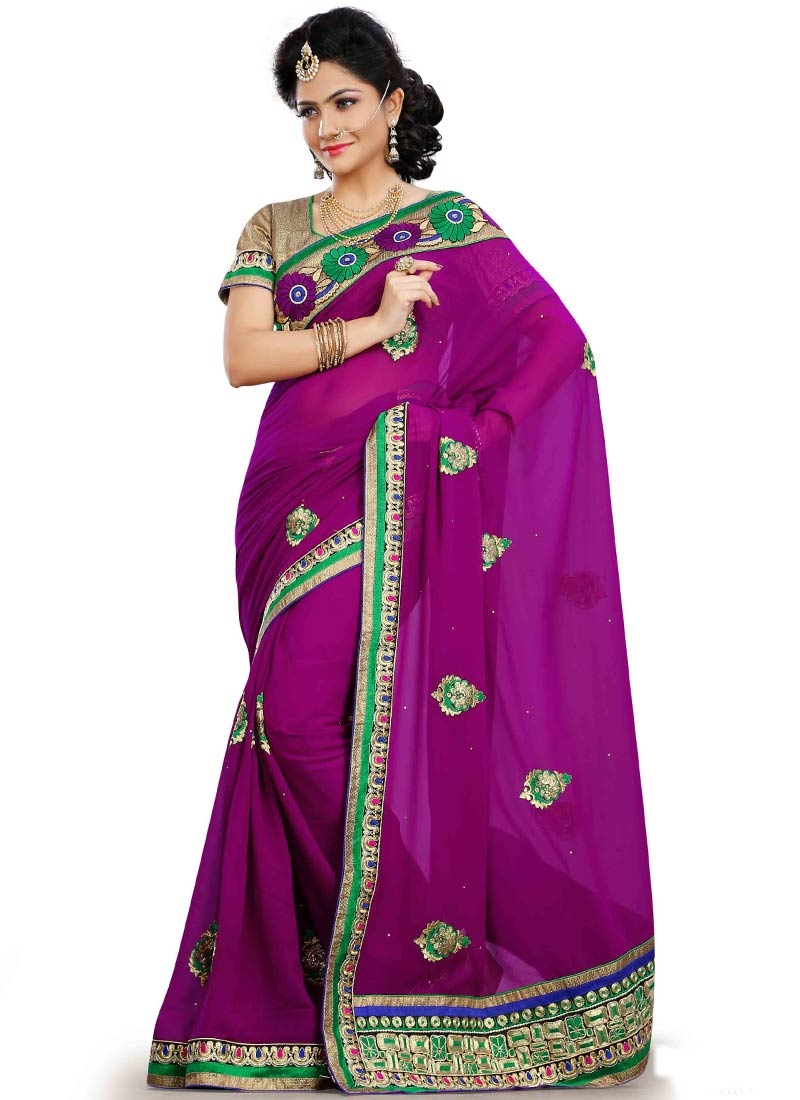 Competent Resham Work Purple Color Party Wear Saree