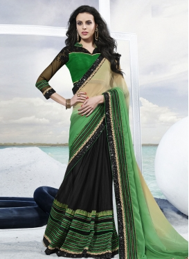 Competent Sequins Work Half N Half Party Wear Saree