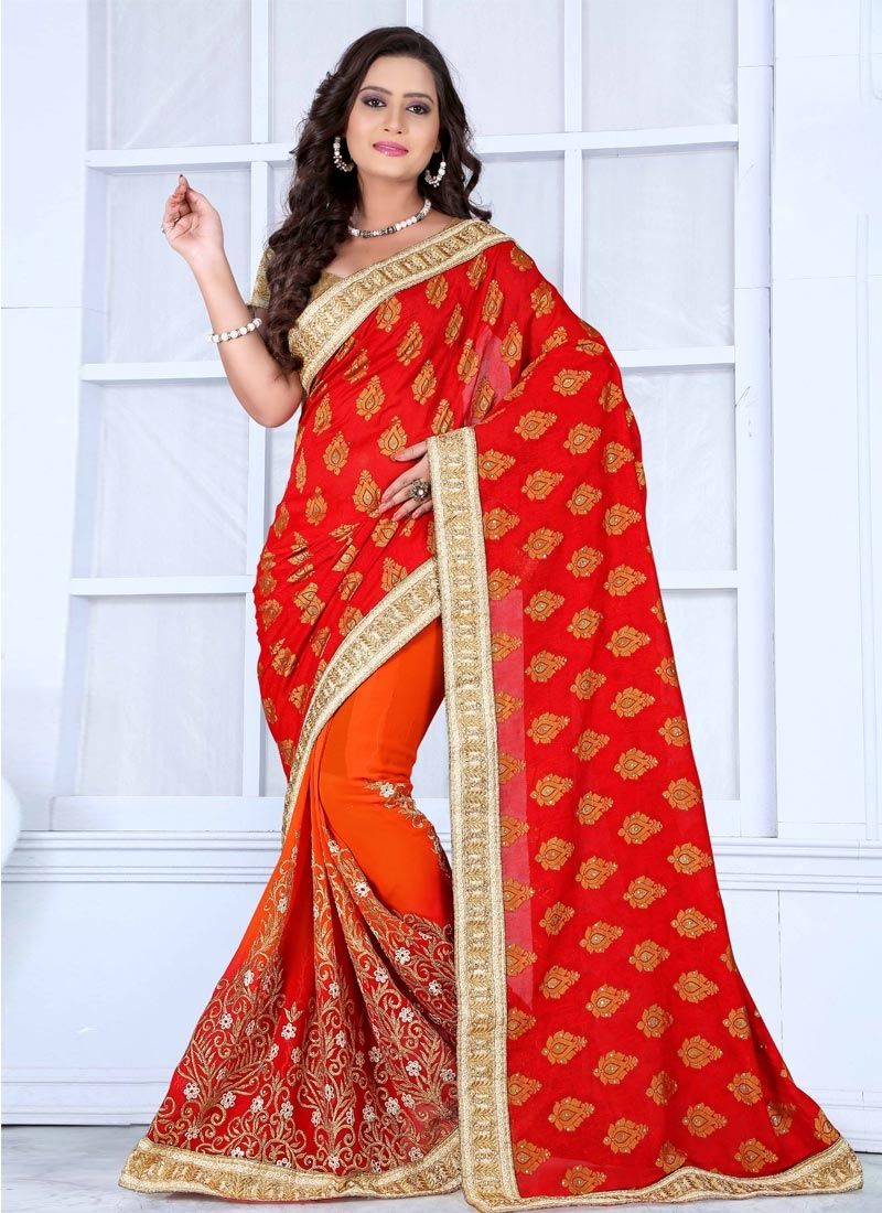 Competent Viscose And Faux Georgette Half N Half Wedding Saree