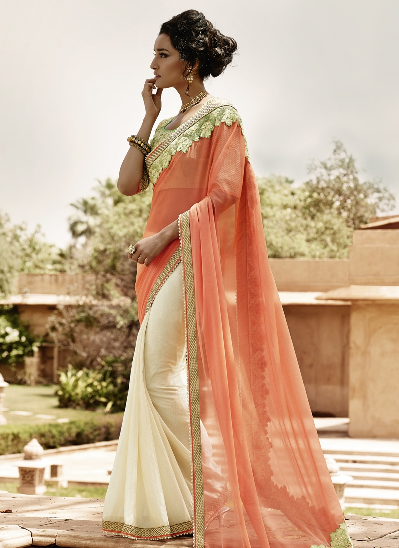 Congenial Beads And Lace Work Half N Half Party Wear Saree