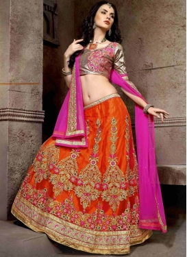 Congenial Booti Work Orange Color Wedding Lehenga Choli