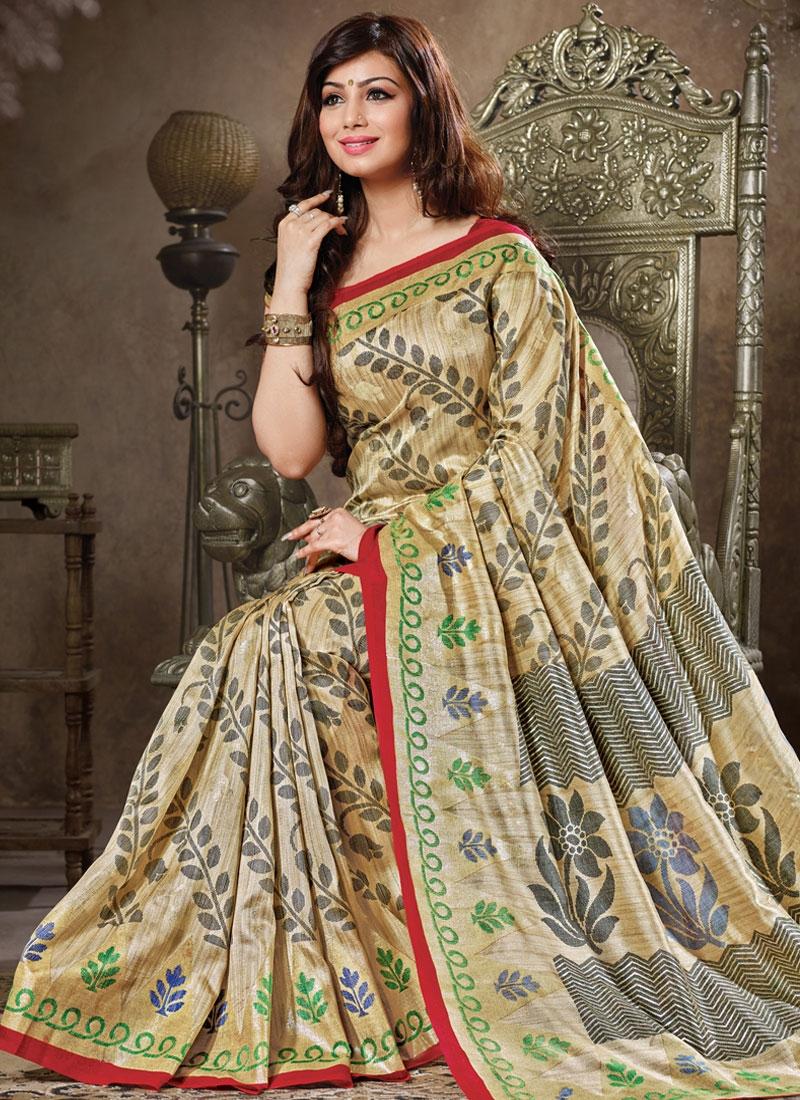 Congenial Cream Color Ayesha Takia Casual Saree