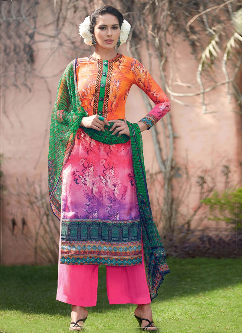 Congenial Digital Print Work Palazzo Style Pakistani Salwar Suit