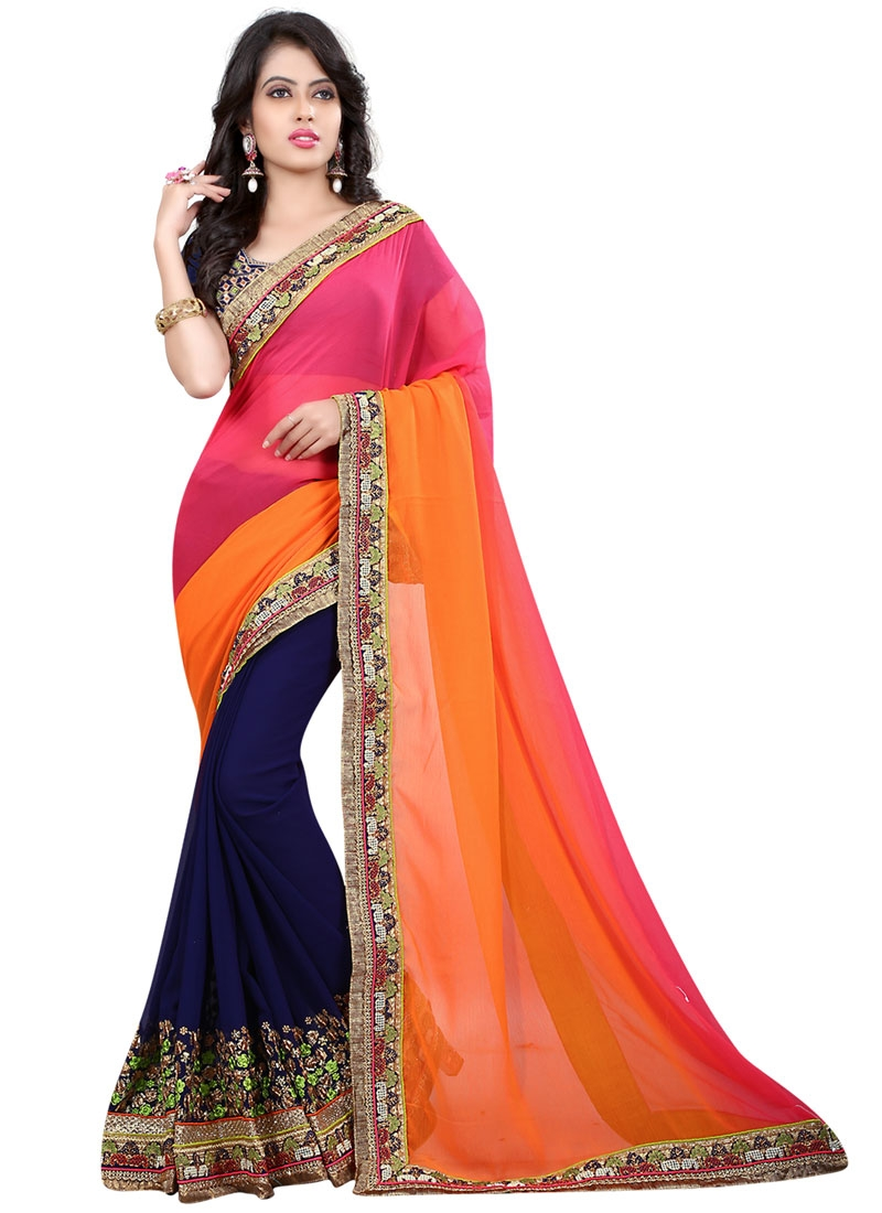 Congenial Embroidery Work Faux Georgette Designer Saree