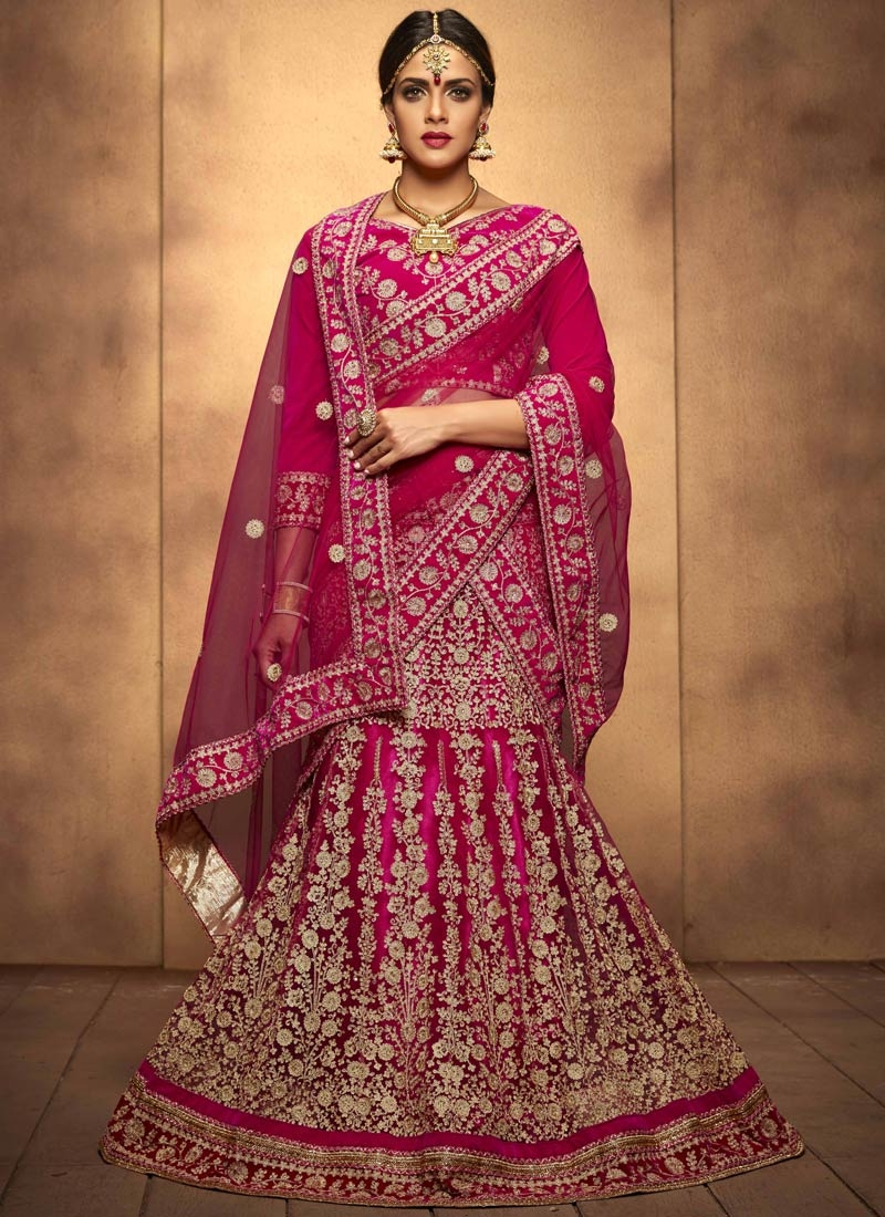 Congenial Embroidery Work Net Bridal Lehenga Choli