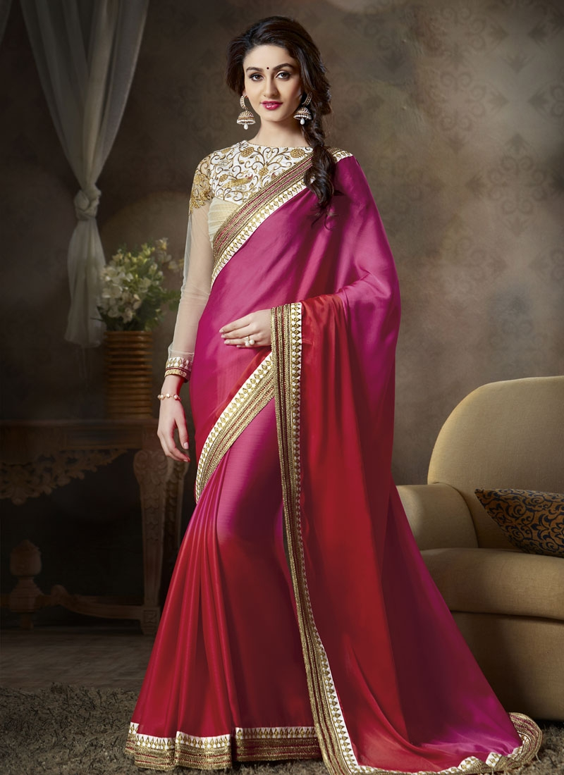 Congenial Faux Georgette And Satin Party Wear Saree