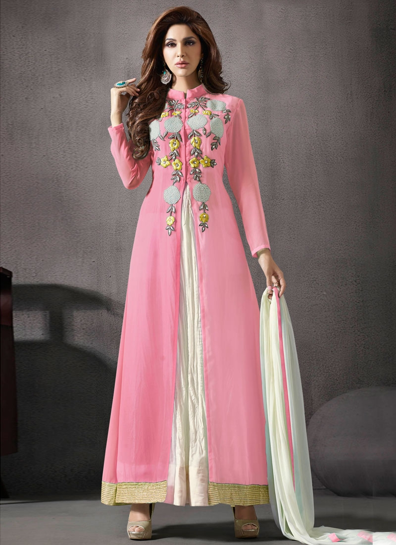 Congenial Faux Georgette Ankle Length Designer Salwar Suit