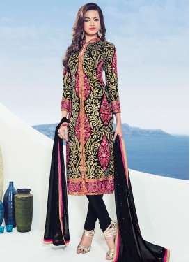 Congenial Faux Georgette Churidar Designer Suit For Ceremonial