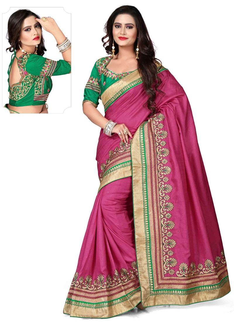 Congenial Fuchsia Color Silk Party Wear Saree