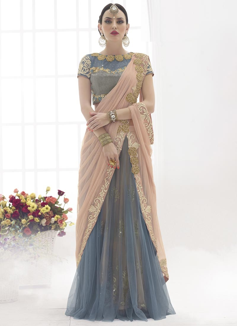 Congenial Grey And Beige Color Designer Lehenga Saree