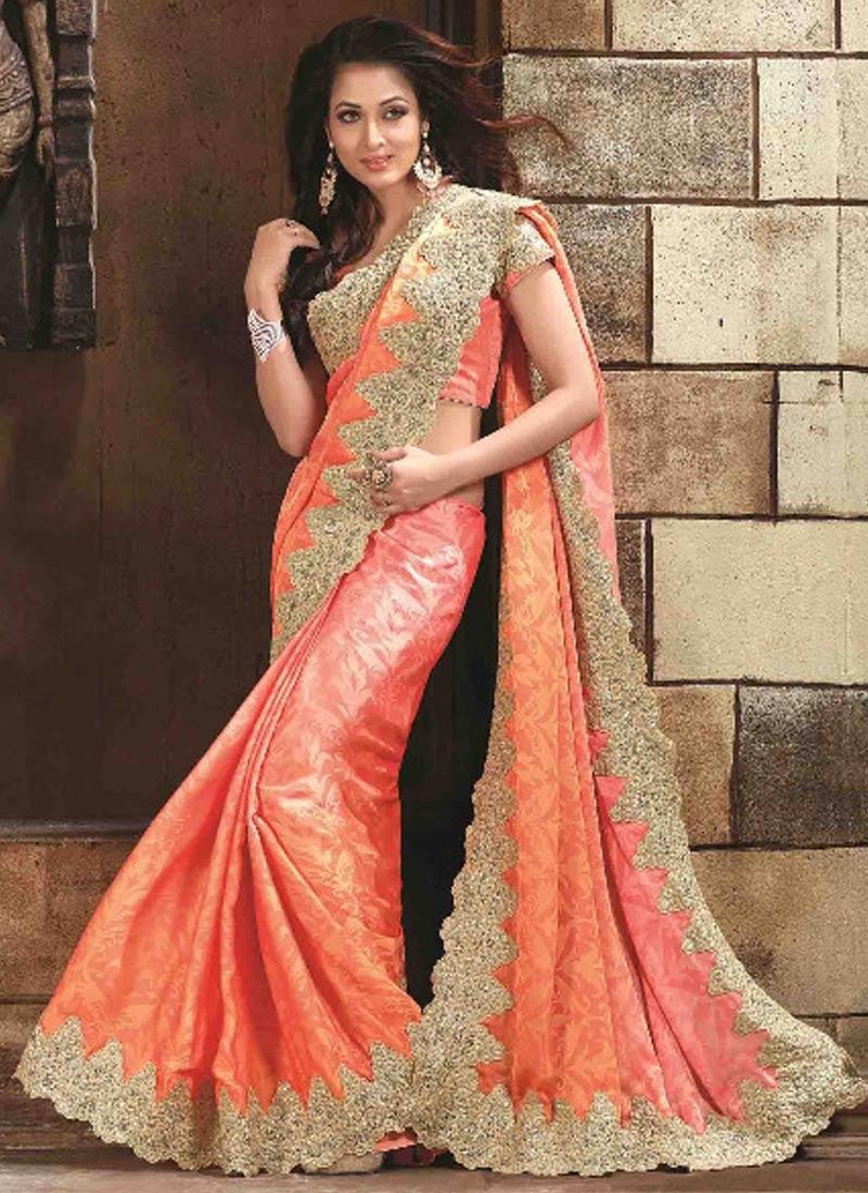 Congenial Jacquard Lace Work Designer Saree