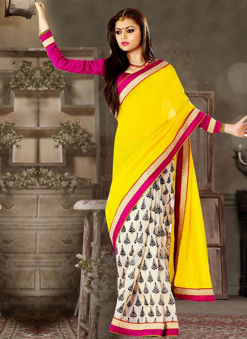 Congenial Lace Work Drashti Dhami Half N Half Casual Saree