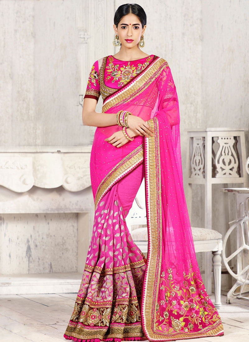 Congenial Magenta Color Faux Georgette Bridal Saree