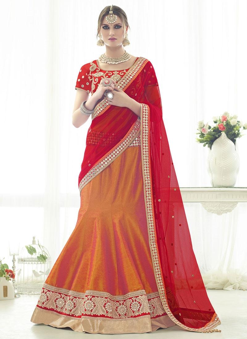 Congenial Mirror Work Silk Designer Lehenga Choli
