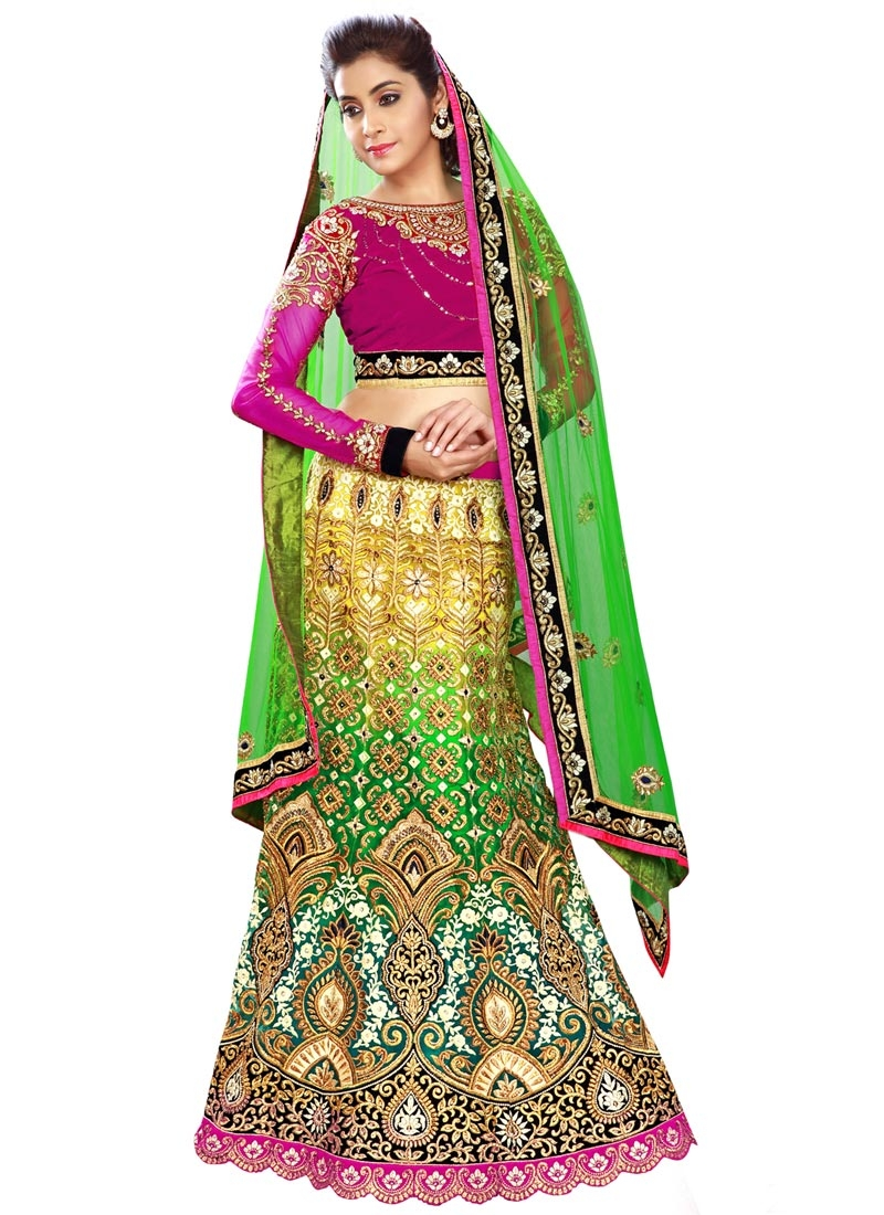 Congenial Net And Velvet Bridal Lehenga Choli