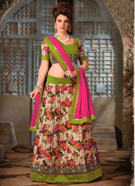 Congenial Olive And Beige Color Party Wear Lehenga Choli
