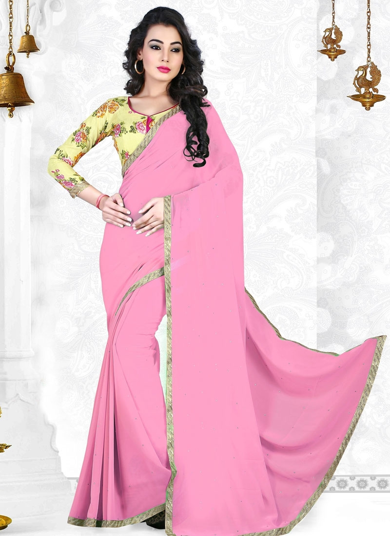 Congenial Pink Color Lace Work Casual Saree