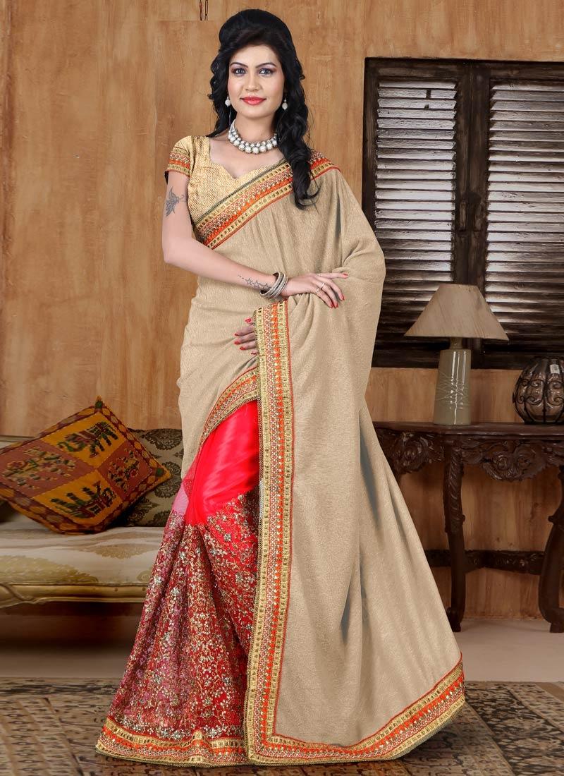 Congenial Resham And Stone Work Crush Half N Half  Wedding Saree