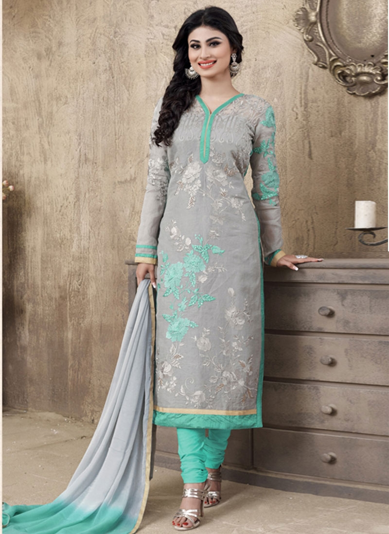 Congenial Resham Work Grey Color Mouni Roy Casual Salwar Suit