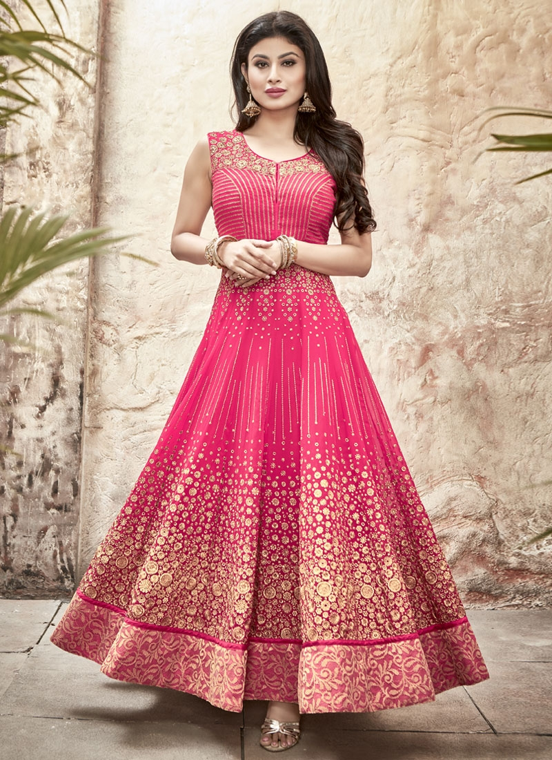 Congenial Rose Pink Color Mouni Roy Long Length Anarkali Suit