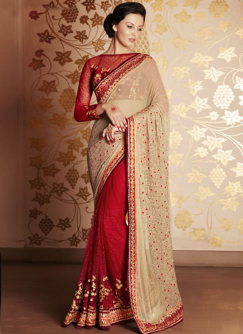 Congenial Stone And Floral Work Half N Half Wedding Saree