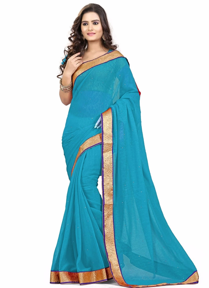 Congenial Stone And Lace Work Casual Saree