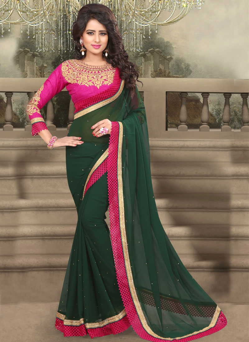 Congenial Stone And Lace Work Party Wear Saree
