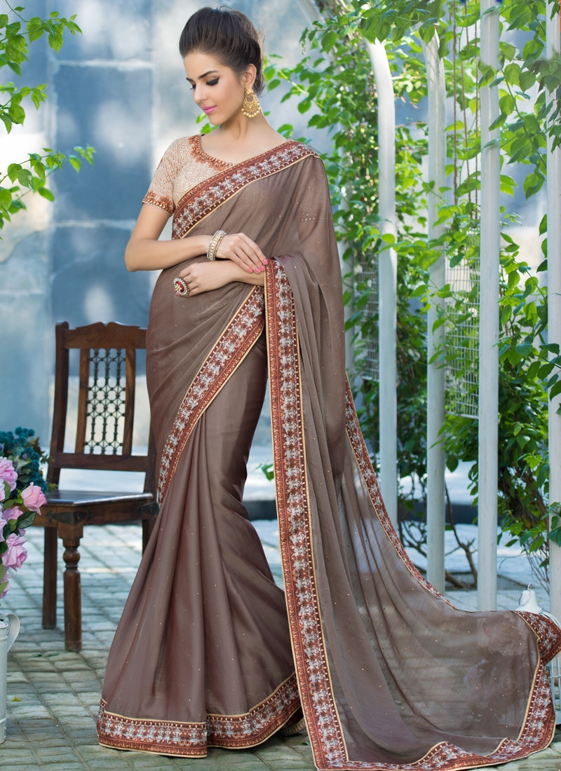 Congenial Stone Work Party Wear Saree
