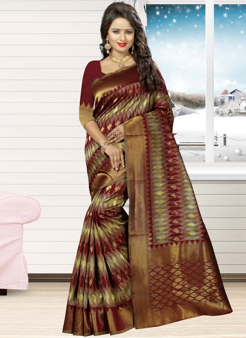 Congenial Thread Work Jacquard Silk Contemporary Style Saree