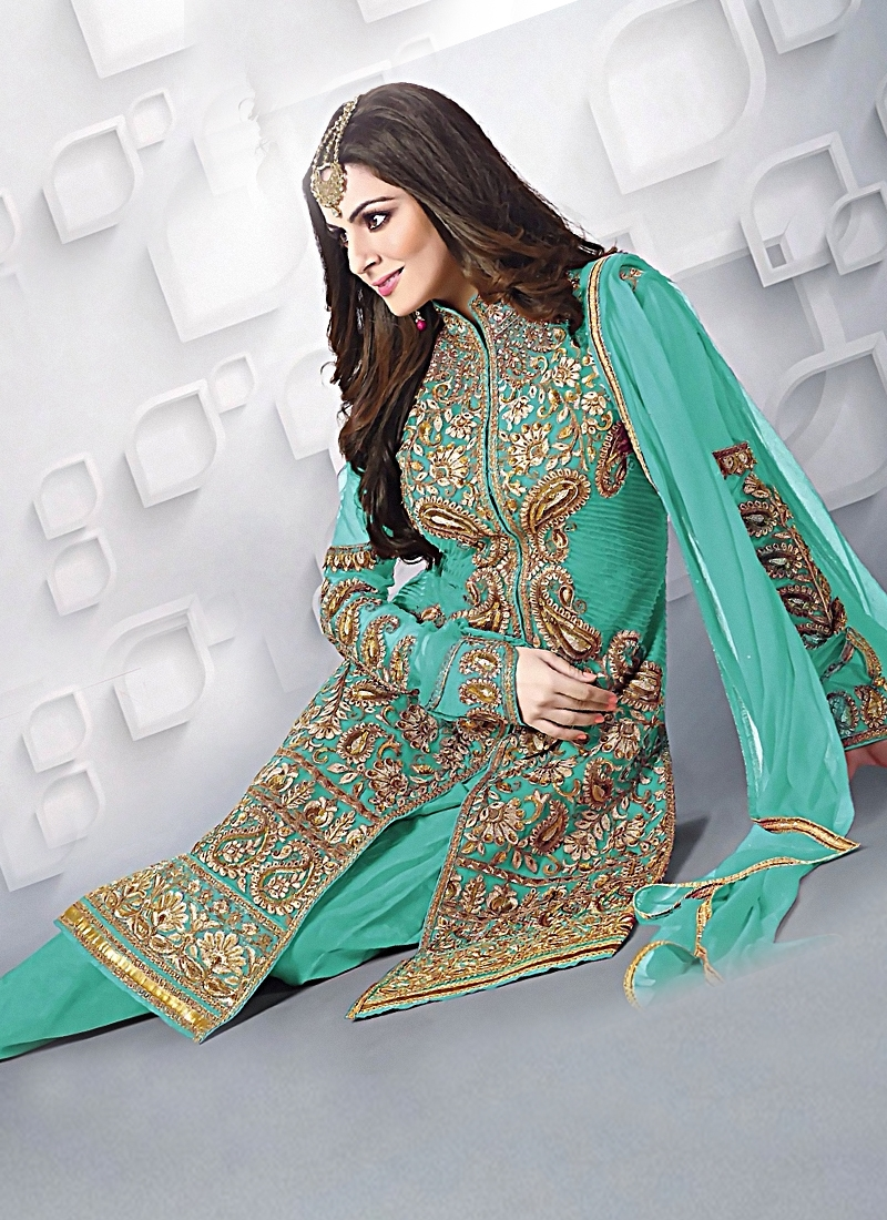 Congenial Turquoise Color Wedding Suit