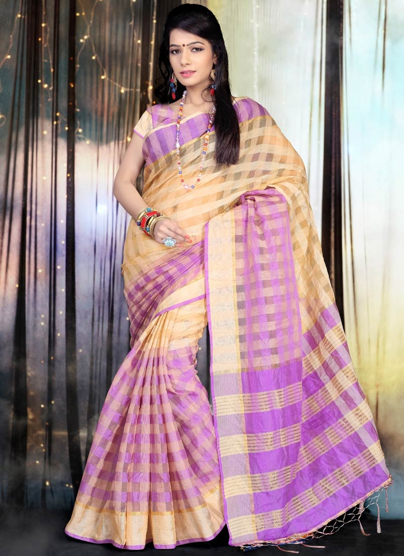Congenial Violet Color Casual Saree