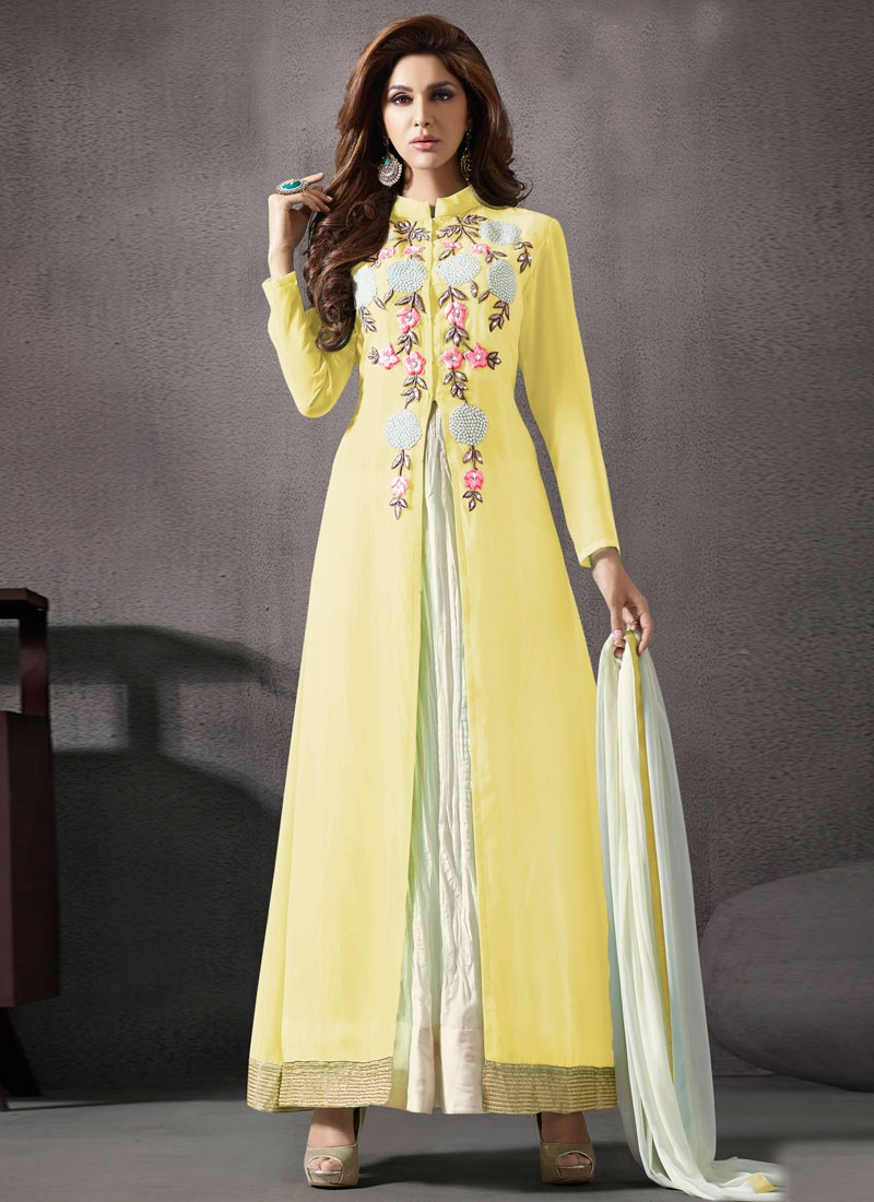 Congenial Yellow Color Ankle Length Designer Salwar Kameez