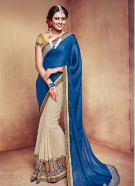 Conspicuous  Beige and Blue Half N Half Designer Saree