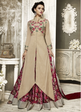 Conspicuous Beige and Crimson Designer Kameez Style Lehenga Choli For Ceremonial