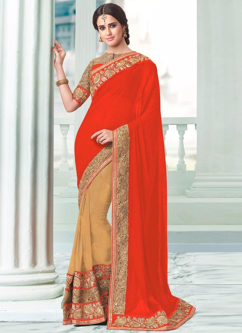 Conspicuous Beige Color Faux Georgette Half N Half Party Wear Saree