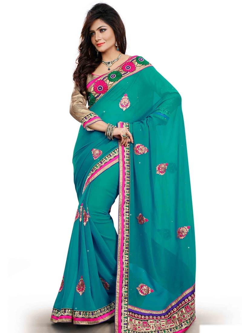 Conspicuous Booti And Lace Work Party Wear Saree