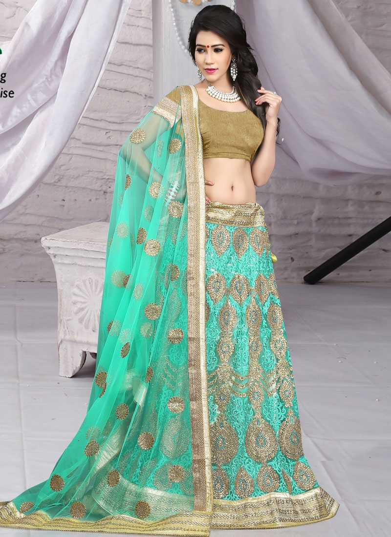 Conspicuous Booti And Stone Work Net Bridal Lehenga Choli